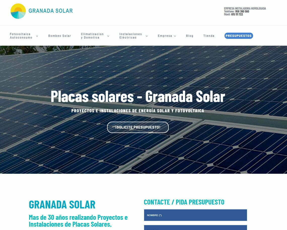 Página web corporativa Granada Solar