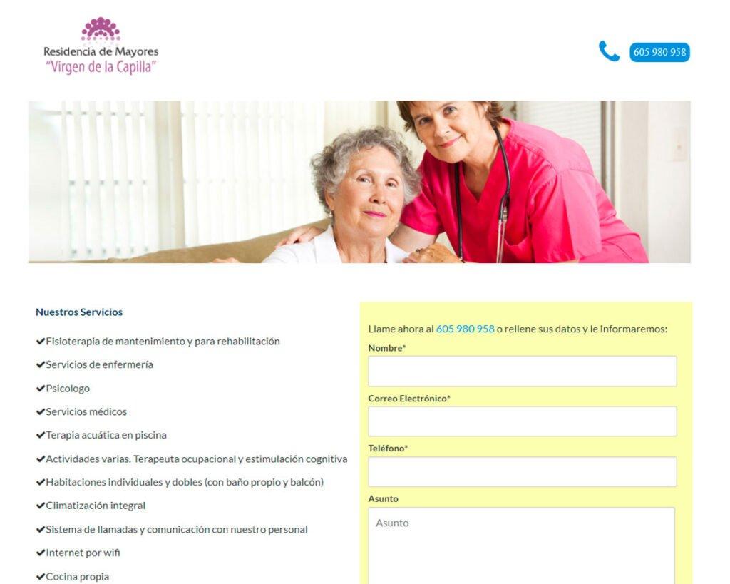 ejemplo página web básica residencia de mayores jaen